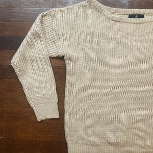 Tan Knit Off The Shoulder Sweater
